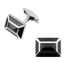 High quality fashion men's shirts Cufflinks Black Enamel Cufflinks brass hat square, wholesale and retail