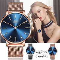 LIGE นาฬิกาสตรีแบรนด์หรูแฟชั่น Ultra บางนาฬิกาควอตซ์กันน้ำสไตล์เมืองนาฬิกา Relogio Feminino