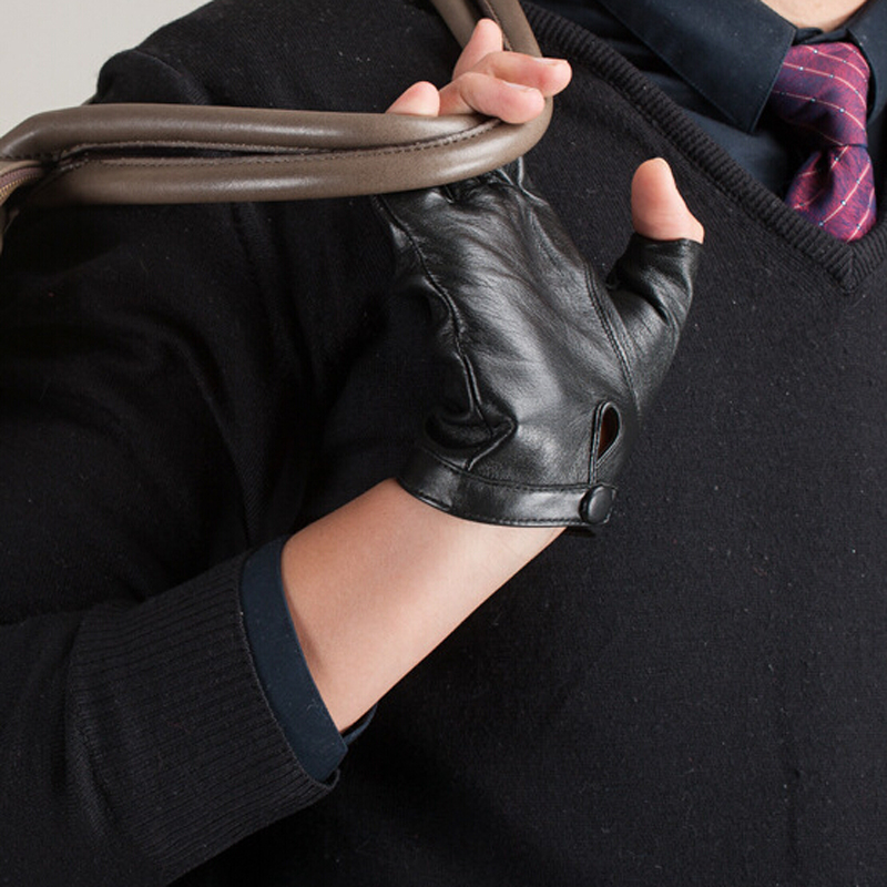 Brand Men and Women Genuine Leather Gloves Sheepskin Leather Fingerless Gloves Black Red Dance Driving Gloves Free Shipping in Men 39 s Gloves from Apparel Accessories