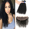 Grade 7A Unprocessed Brazilian Kinky Curly Virgin Hair 2pc With Closure Brazilian Hair With Closure Lace Fronta Human Hair Weave