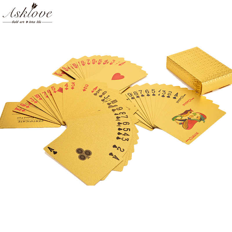 24K الذهب بوكر أوراق اللعب الذهب احباط بوكر حفلة عيد ميلاد هدايا مقاوم للماء لعبة أوراق اللعب الذهب طقم البوكر صندوق هدايا خشبية