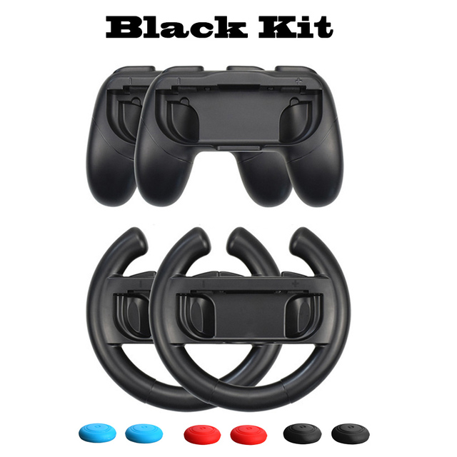 10 in 1 Nintend Switch Joystick Accessories Kit with Racing Steering Wheel Handle Grips Analog Caps for Nintendo Switch Joy-con 3