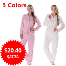 Women Autumn Winter Warm Coral Fleece Big Size Pink Dot Sleepwear Pajama Suit Nightwear 2 Pieces Pyjama Set For Ladies 071