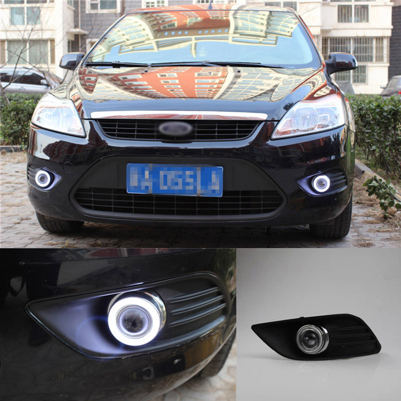 Ownsun COB Angel Eye Rings Projector Lens with 3000K Halogen Lamp Source Black Fog Lights Bumper Cover For Ford Focus 09-13 ownsun innovative super cob fog light angel eye bumper cover for skoda fabia scout