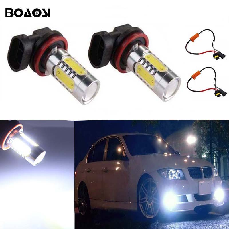 BOAOSI 2x H8 H11 CREE Chip LED Fog Light Driving Bulbs +Canbus Decoders Error Free for BMW E71 X6 M E70 X5 E83 F25 x3 2x bright error free h8 h11 led projector fog light bulb for citroen c2 c4 c4l c5 triumph