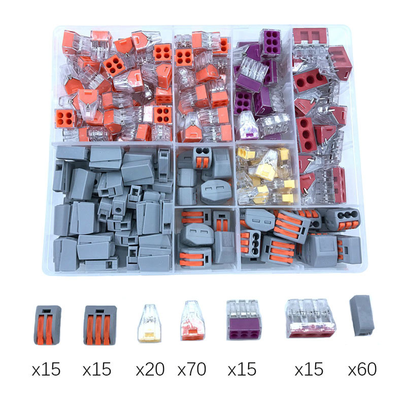 Wago Type Wire Connector 210PCS/Box Combination Suit For 5 Room Mixed Universal Fast Wiring Lighting Accessories Terminal China