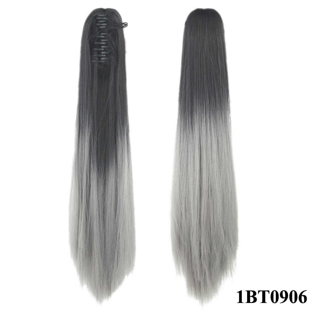 Soowee 24 clip clip grampo de cabelo sintético em linha reta na extensão do cabelo marrom cinza garra rabo de cavalo fibra hairpieces pônei cauda