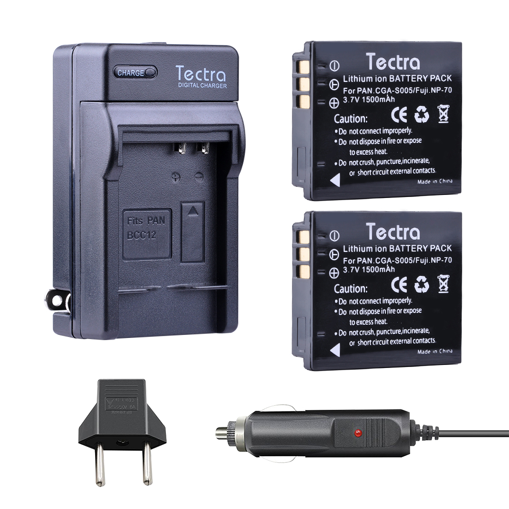 Tectra 2PCS CGA-S005 BATTERY + Digital Charger for Panasonic <font><b>Lumix</b></font> DMC-LX1 LX2 <font><b>LX3</b></font> FX3 DMW-BCC12 For FUJI NP-70 DB60 image