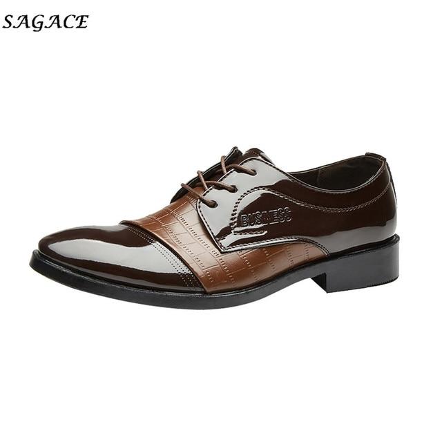 SAGACE Мужские модельные туфли 2018 г. Новый крокодиловой кожи современный классический Узелок внутри на Busness успешного человека должны PU 3 см обувь
