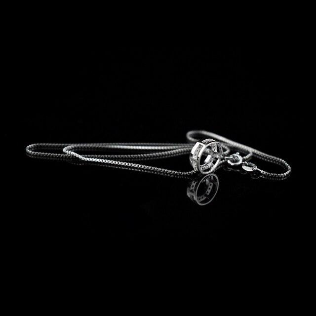 Женское колье с круглым кулоном элегантные стразы из стерлингового