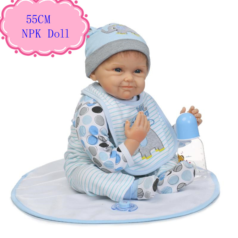 Impressed 55cm Soft Reborn Baby Doll About 22inch Reborn Babies Bebe With Blue/Brown Eyes Good Price Kids Doll For Birthday Gift
