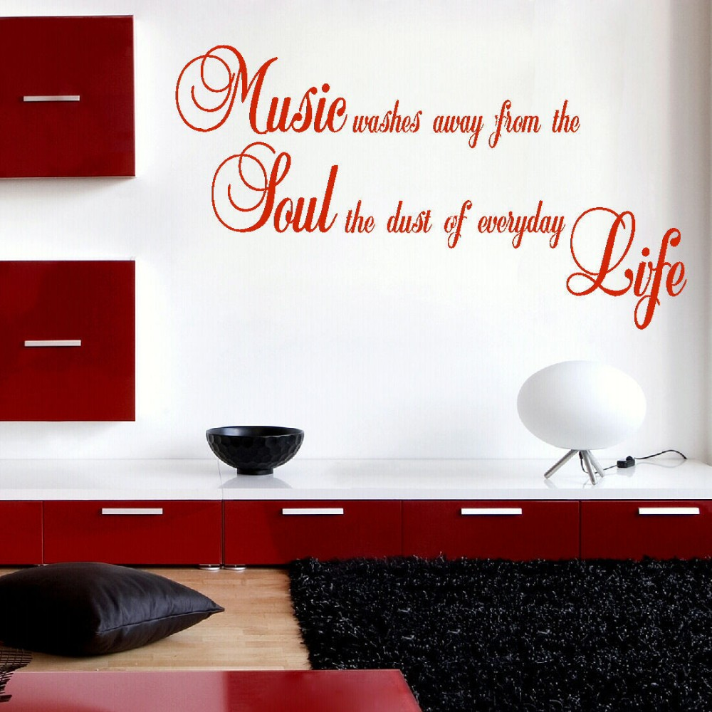 LARGE QUOTE MUSIC WASHES AWAY FROM SOUL DUST LIFE WALL STICKER MATT VINYL