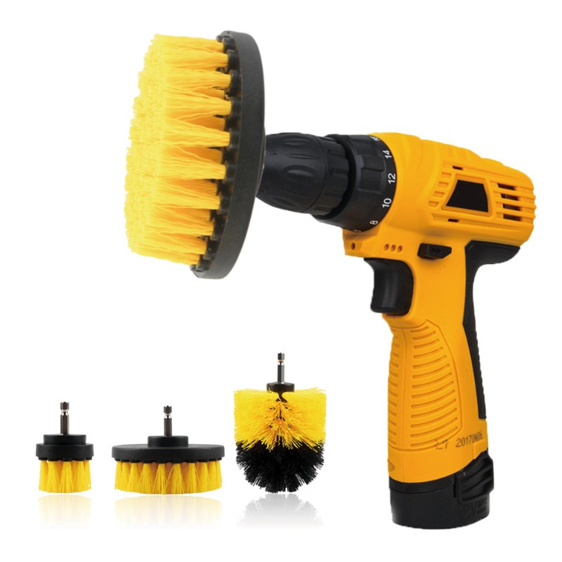 3pcs Power Scrubber Brush Drill Brush Clean For Bathroom
