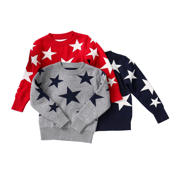 free shipping child sweater five-pointed star Baby boys sweater pullover autumn winter children's clothing semi sheer intarsia star sweater