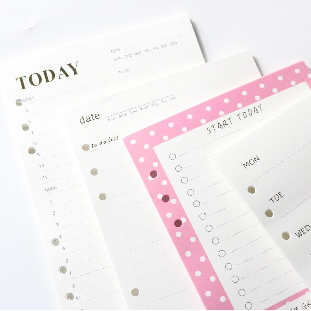 Domikee original kreative 6 loch bindemittel spirale notebooks nachfüllen innere papier core: täglich planer, wöchentlich planer, zu tun liste A5A6