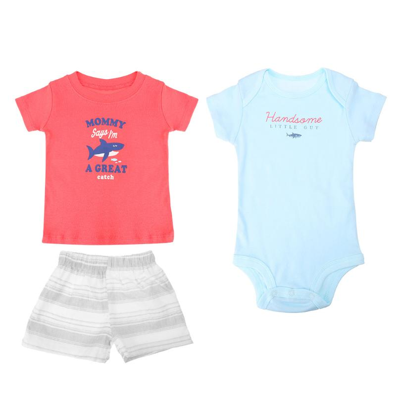 3pcs Cute Baby Infant Animal Letter Print Romper T-Shirt Stripes Shorts Set Spring Summer Baby Boy Girl Clothing Set