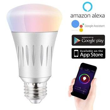 7 w E27/B22/E14 RGBW WiFi Intelligente ha condotto la Luce Della Lampadina 16 Milioni di Multi-Colore Dimmerabile Notte lampadina Compatibile con Amazon Alexa Eco