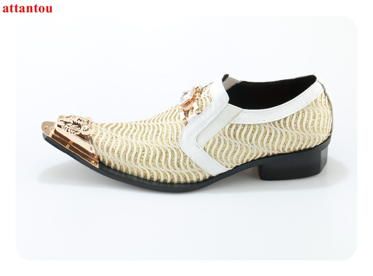 Hot Sale 2018 Pointed Toe Men Dress Shoes Genuine Leather Gloden Male Flats Bling Bling Crystal Decor Office Formal Single Shoes hot sale mens genuine leather cow lace up male formal shoes dress shoes pointed toe footwear multi color plus size 37 44 yellow