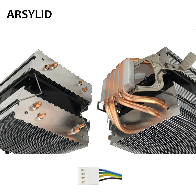 ARSYLID CN-409A-P CPU cooler 4pin PWM 9cm fan 4 heatpipe daul-tower cooling for Intel LGA775 1151 115x 1366 2011 for AMD AM3 AM4 free delivery 9025 9 cm 12 v 0 7 a computer cpu fan da09025t12u chassis big wind pwm four needle