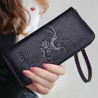 AOEO Calfskin Girls Wallet For Women Genuine Leather Purse Embossed Wallets Walet Wristlet Ladies Wallet Female