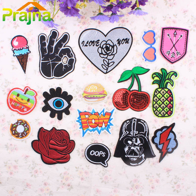 Flower OOPS Letter Patch Fruit Iron On Kids Cartoon Patches Cheap Cute Embroidered  Patches For Clothes