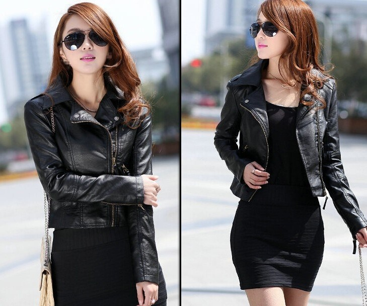 Women Fashion Black Motorcycle Coat Short Female Pu   Leather   Jacket Short Faux   Leather   Biker Jacket Soft Jacket