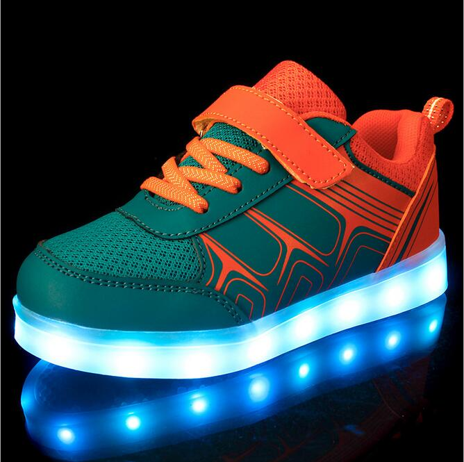 LED Light Shoes Kids Boys Girls Glowing Sneakers Toddler/Little Kids/Big Kids Flashing PU Sport Flash Board Rechargeable Color led glowing sneakers kids shoes flag night light boys girls shoes fashion light up sneakers with luminous sole usb rechargeable