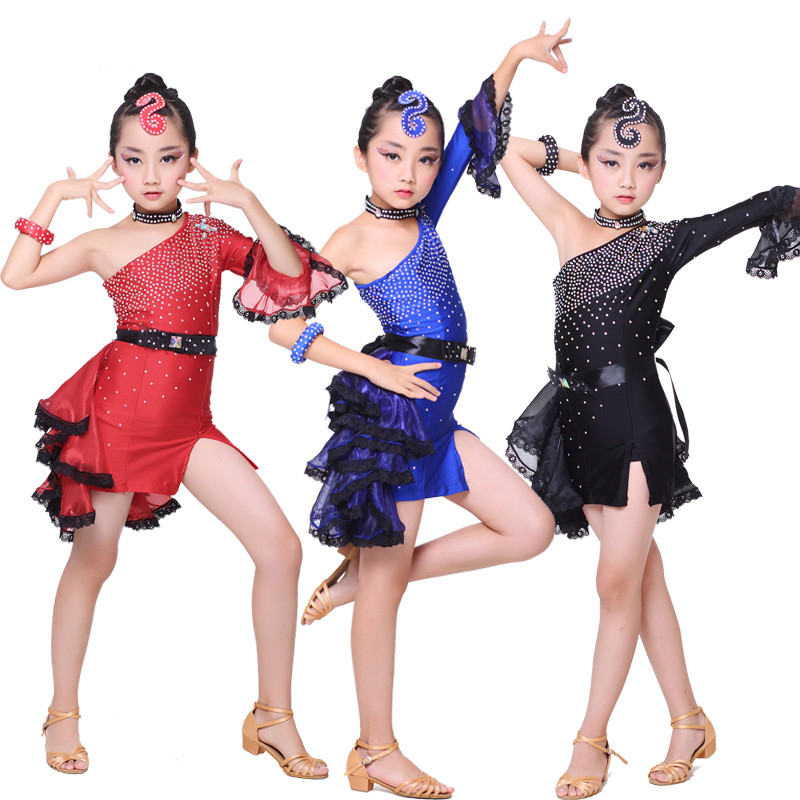 2018 Latin Dance Dress Girls Ballroom Dancing Dresses For Kids Sexy Sequins Tango Clothes Competition Performance Wear DN1101