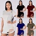 Sexy Women Solid T-Shirt 2016 Новые Вершины Выдалбливают С Коротким Рукавом Tee Shirt Отверстия Рубашка Женщины Топы