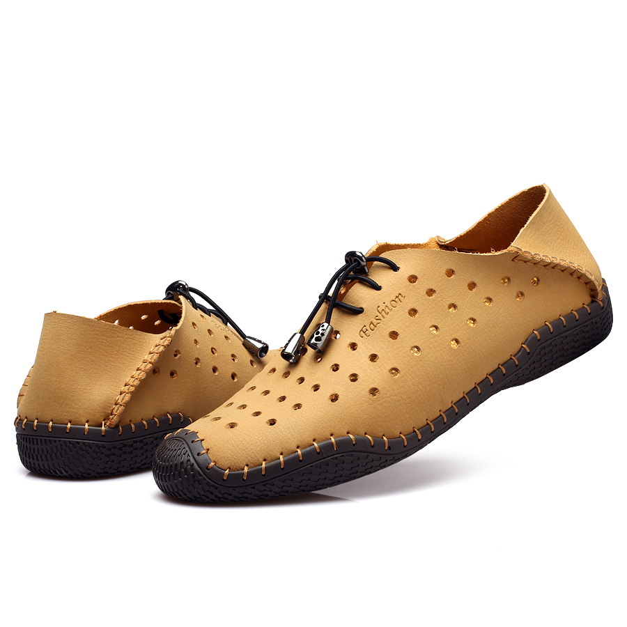 New 2017 Cut Outs Genuine Leather Men Flats shoes men summer shoes comfortable Outdoor shoes Soft