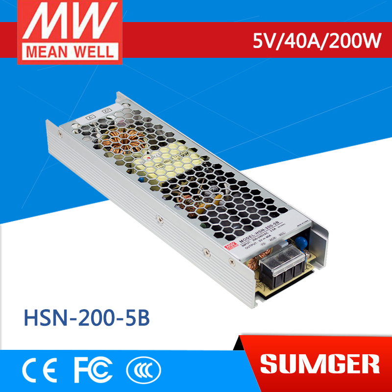 1MEAN WELL original HSN-200-5B 5V 40A meanwell HSN-200 5V 200W Single Output Switching Power Supply