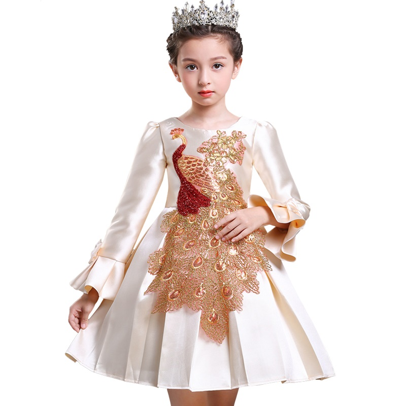 New Year Dress for Girl Flower Girls Party Dress Embroidered Formal Bridesmaid Wedding Girl Christmas Princess Ball Gown Kids 2017 new flower girls party dress embroidered gownceremonial robe dress formal bridesmaid wedding girl christmas princess robe