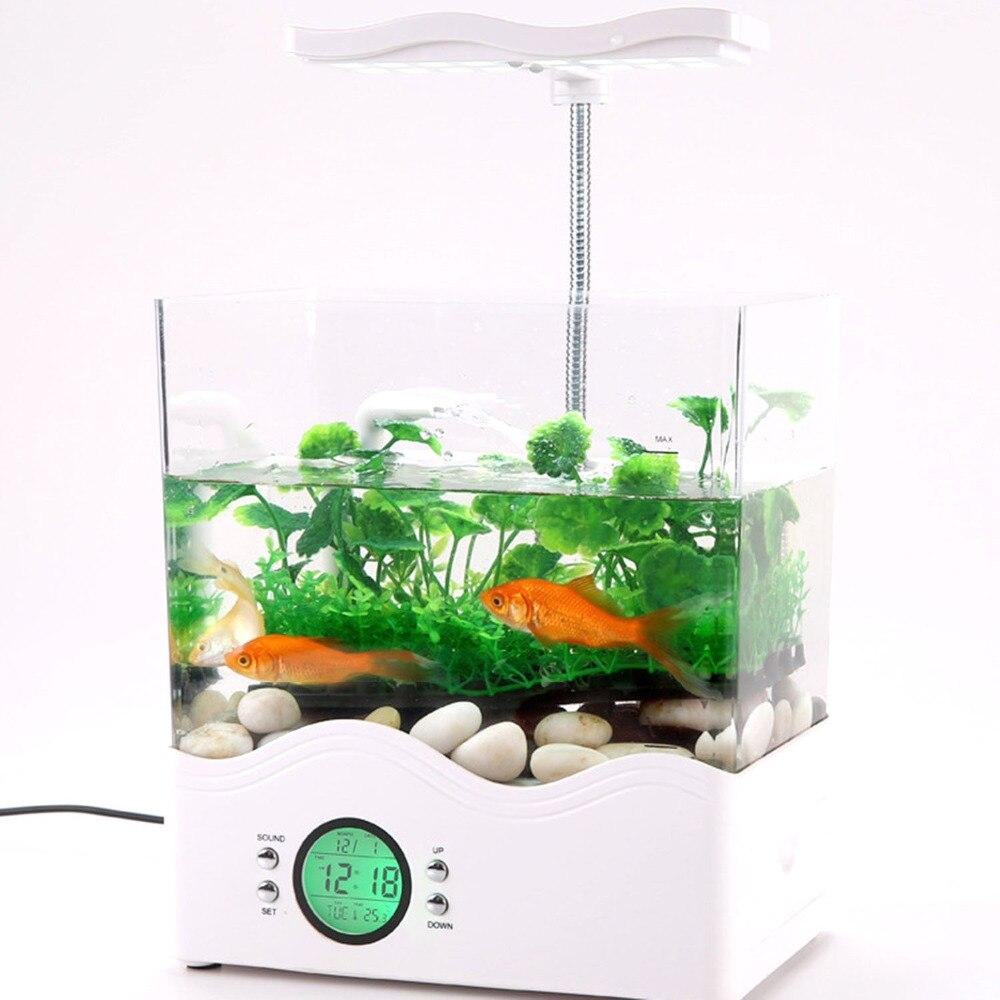 Usb mini aquarium fish tank with colorful light - Ibama Usb Desktop Aquarium All In One Digital Mini Fish Tank With Led Light Lcd Calendar Display White In Aquariums Tanks From Home Garden On