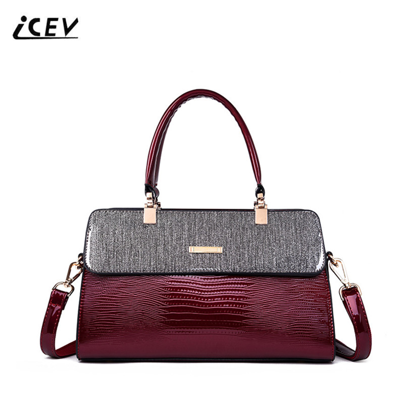 ICEV New Simple High Quality Patent Leather Top Handle Bags Handbags Women Famous Brands Ruched Women Leather Handbags Bolsa SacICEV New Simple High Quality Patent Leather Top Handle Bags Handbags Women Famous Brands Ruched Women Leather Handbags Bolsa Sac