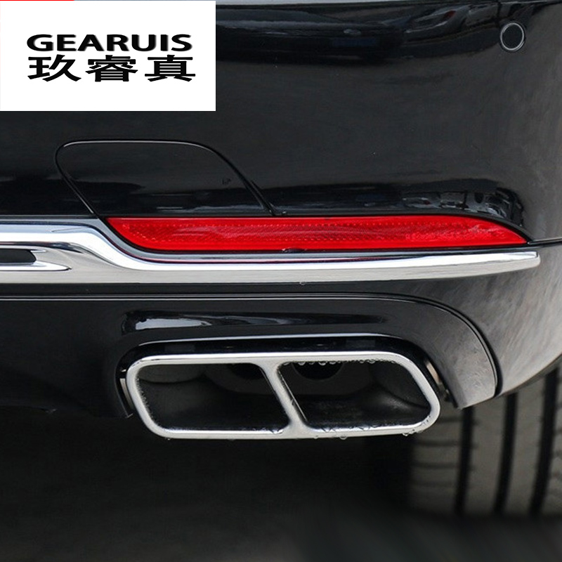 Car styling Rline Tail Throat Exhaust Pipe For Mercedes benz W222 S Class tail pipe exhaust pipe cover muffler tip accessories car accessories amg exhaust cover outputs pipe tail frame trim for mercedes benz glc a b e c class w205 coupe w213 w176 w246