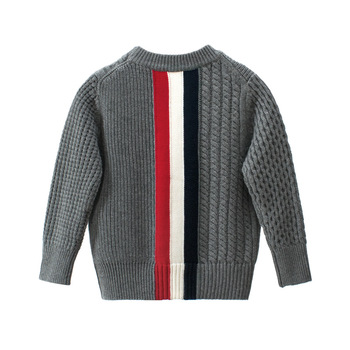 kids Casual Sweaters Autumn Winter 2019 Boys and Girls Pullover Knitted Striped Sweater Children Long Sleeve Gray Navy Blue Tops