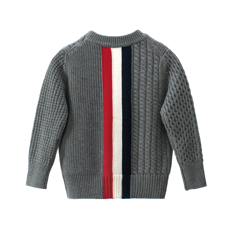kids Casual Sweaters Autumn Winter 2019 Boys and Girls Pullover Knitted Striped Sweater Children Long Sleeve Gray Navy Blue Tops-in Sweaters from Mother & Kids