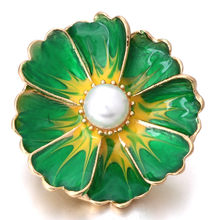 18mm Snap Button Jewelry Green Enamel Color Flowers With Pearls DIY Women Jewelry For Bracelet Button Jewelry Dorpshipping(China)