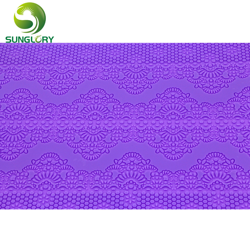 Купить с кэшбэком Flower Pattern Silicone Lace Mat Kitchen Sugar Lace Mold Silicone Baking Mat Wedding Decoration Fondant Cake Mold Color Purple