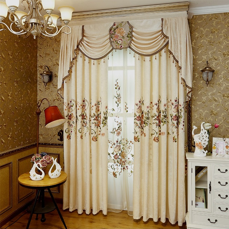 2019 NEW Luxury European Curtains For Living Room Bedroom High-grade Custom Chenille Embroidery Sheer Customize Cloth Valance