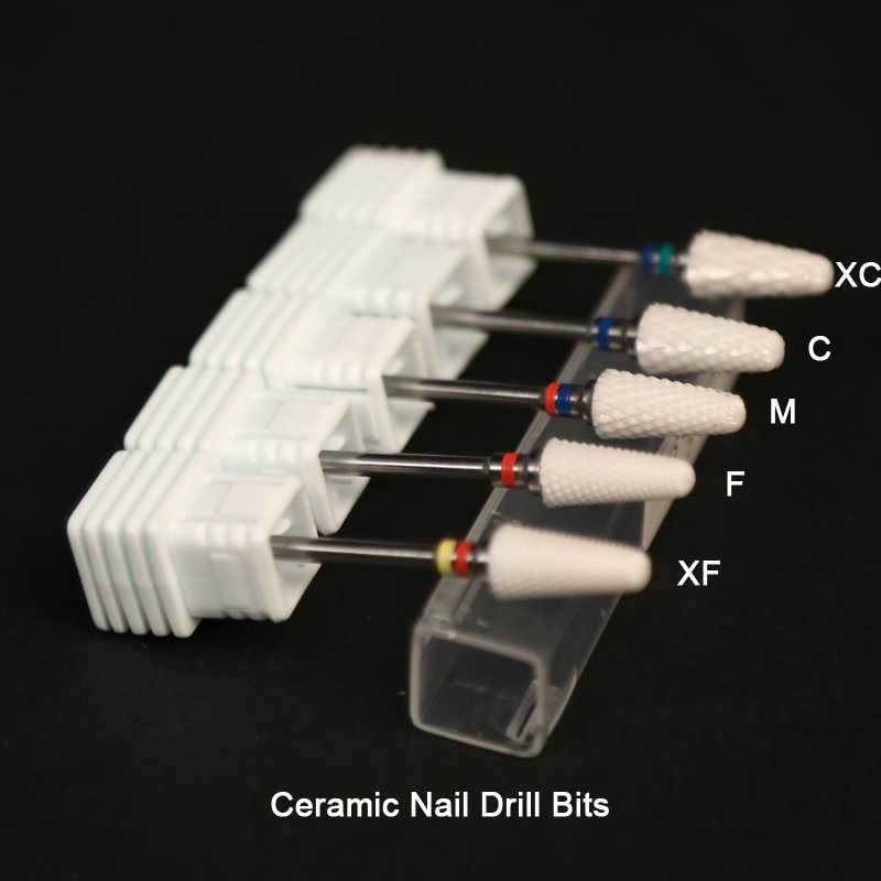 "2 PCS / Lots Ceramic Nail Drill Bit 3/32"" Rotary Burr Cutter Bits For Manicure Electric Accessories Nail Tools Nail Mill"