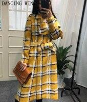 Британский стиль Для женщин твид шерстяной жакет элегантный с рукавом бабочкой Для женщин плед длинное пальто темперамент двубортное шерс