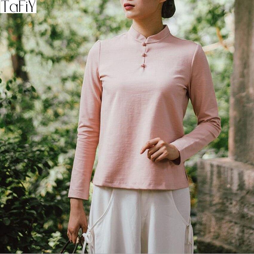 Tafiy 2017 الخريف الشتاء النساء blusas خمر - الملابس الوطنية