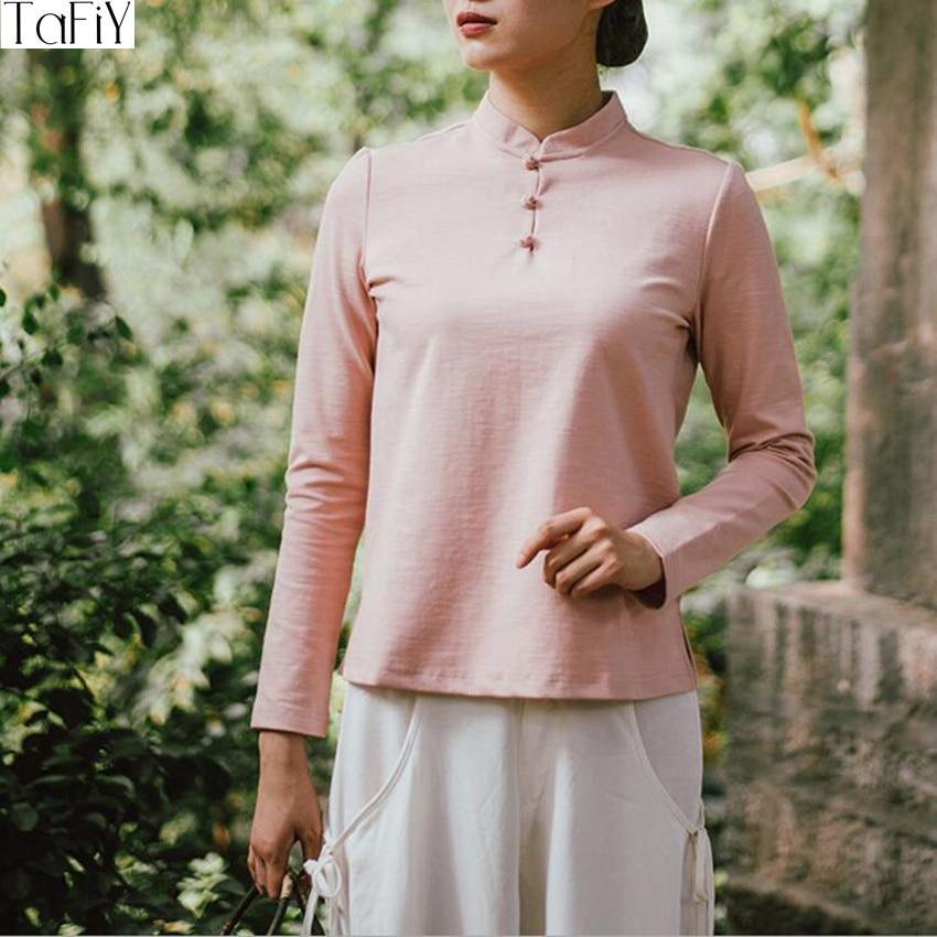 TaFiY 2017 Autumn Winter Women Blusas Vintage Kimono Sand Collar Handmade Plate Buttons Chinese Style 100% Cotton Tops