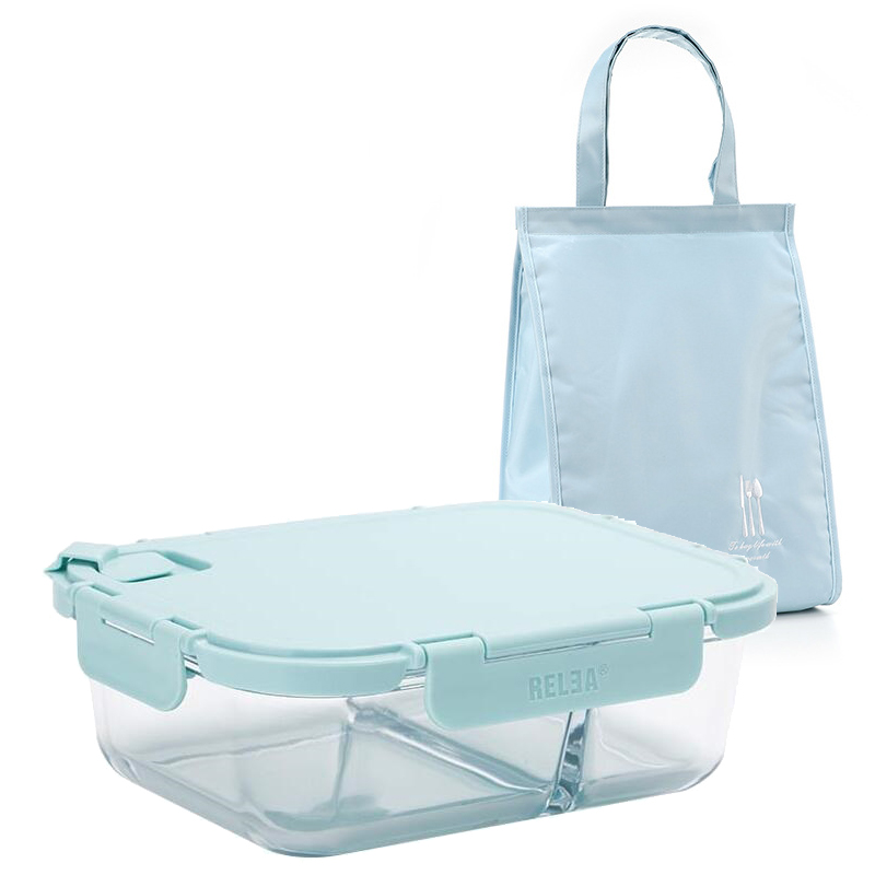 Blue Lunch Box with Bule Bag Microwavable Glass for Office