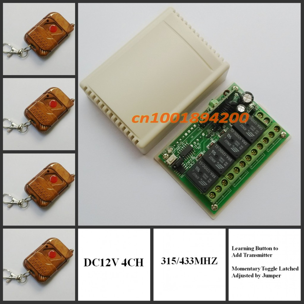 DC 12V 4CH 10A Relay Remote Control Switch 4 Transmitter Receiver 1Button 1 Relay LED Lamp Lighting Door Access Control System цена