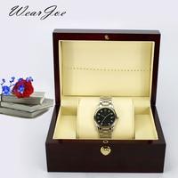 Vintage Bright Wood Grain Painted Wrist Watch Storage Square Gift Box Press Stud Closure Universal Watch Display Casket Holder