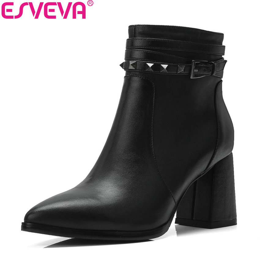 ESVEVA 2019 Cow Leather Women Boots Zipper Ankle Boots Rivet Square High Heels Shoes Pointed Toe Ladies Boots Shoes Size 34-39 esveva 2018 women boots cow leather suede out door buckle square high heels ankle boots pointed toe warm fur boots size 34 39