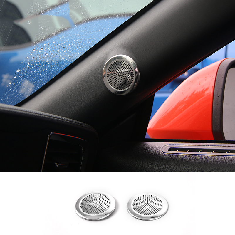 MOPAI Car Interior A pillar Audio Door Speaker Sound Decoration Trim Cover Stickers For Ford Mustang 2015 Up Car Styling car sound processor for ford f150 pickup car general sound processor audio tuner dsp