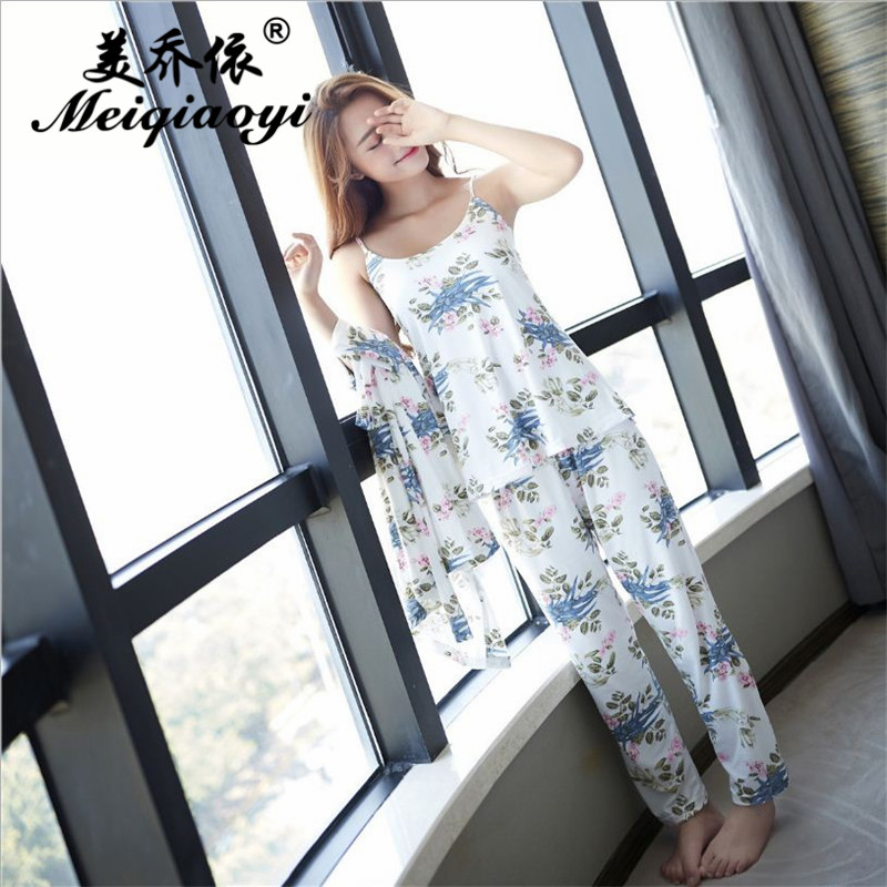 Womens Leisure nightwear Autumn Long sleeved trousers pajamas sets home clothe (Bathrobe + Camisole+trousers Three pieces)